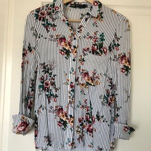 Stripe and floral blouse